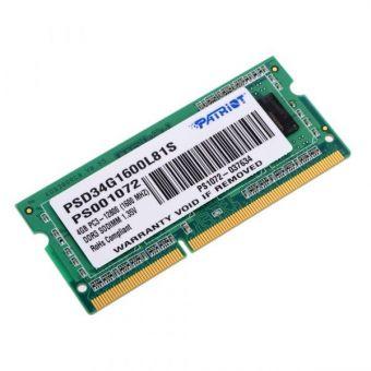 Память SODIMM DDR3 4Gb 1600MHz Patriot PSD34G1600L81S