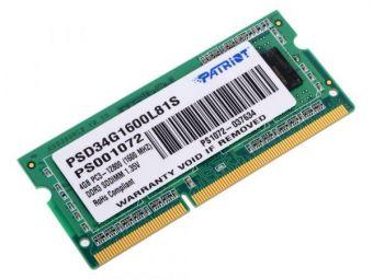 Оперативная память DDR3L SODIMM 4Gb 1600MHz 1,35V Patriot PSD34G1600L81S