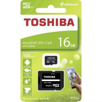 Карта памяти microSDHC 16Gb UHS-I class10 TOSHIBA THN-M203K0160EA