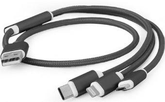 Кабель GEMBIRD USB 3 in 1, TYPE-C, MicroUSB, Lightning, 1 м