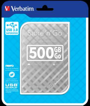 """Внешний жёсткий диск 500GB Verbatim 2,5"""" (SILVER) USB 3.0"""