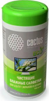 Чистящие салфетки для экранов и оптики Cactus 100 шт (CS-T1001E)